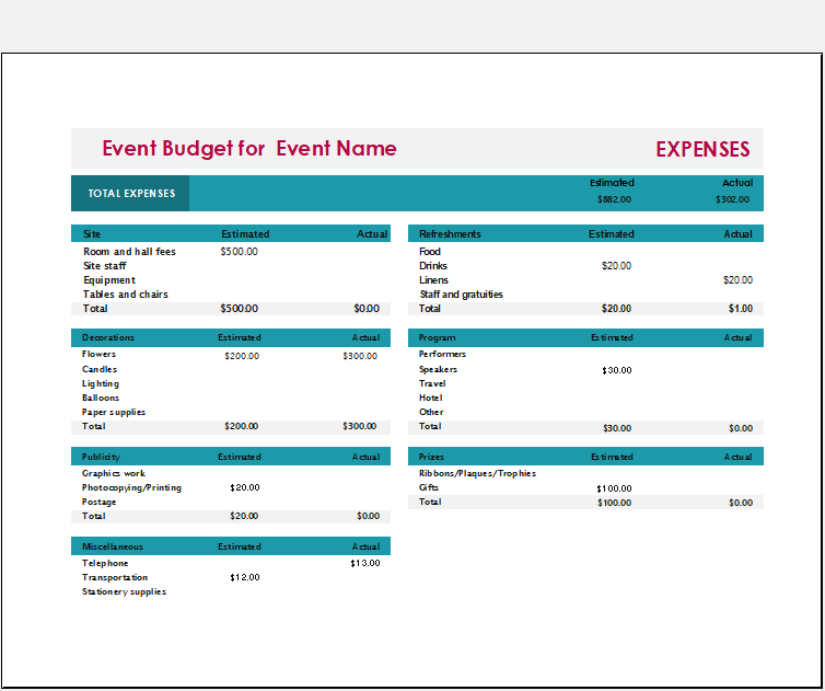 Event Budget Template 01