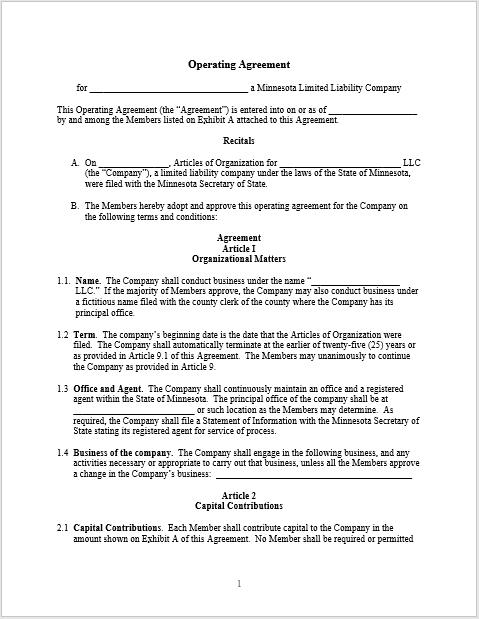 Llc Agreement Templates 29 Free Templates In Ms Word And