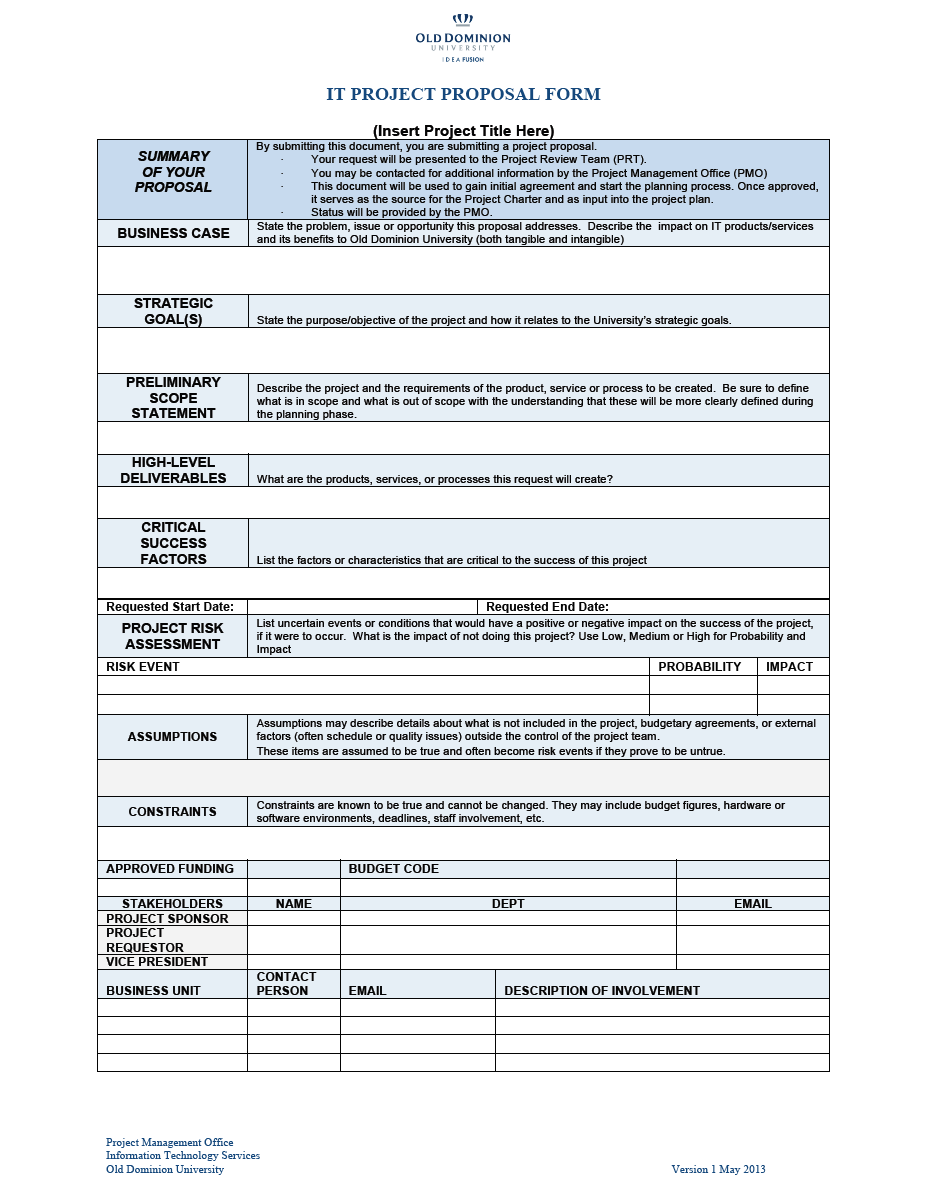 Project Funding Proposal Template 09