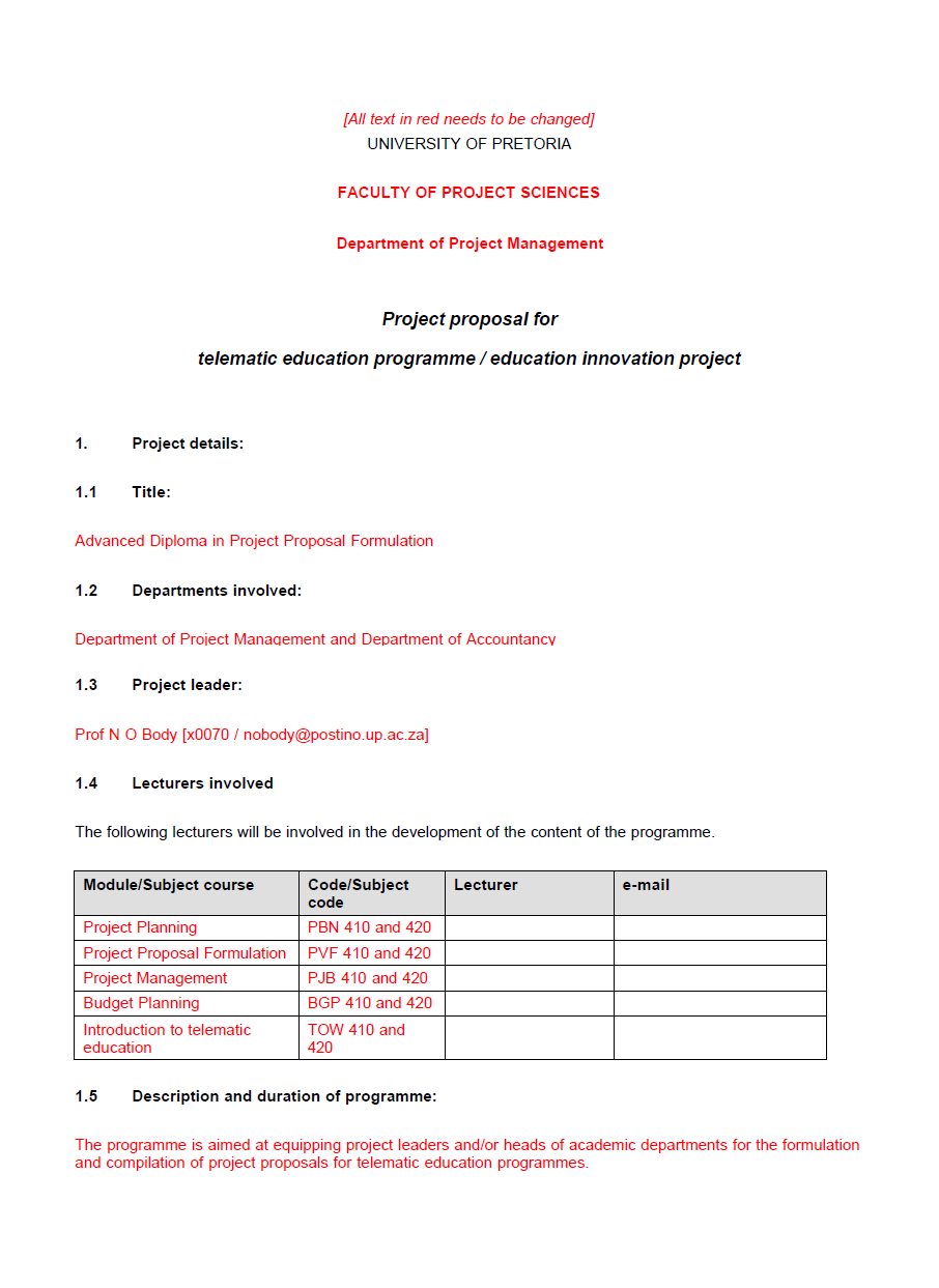 Project Funding Proposal Template 15