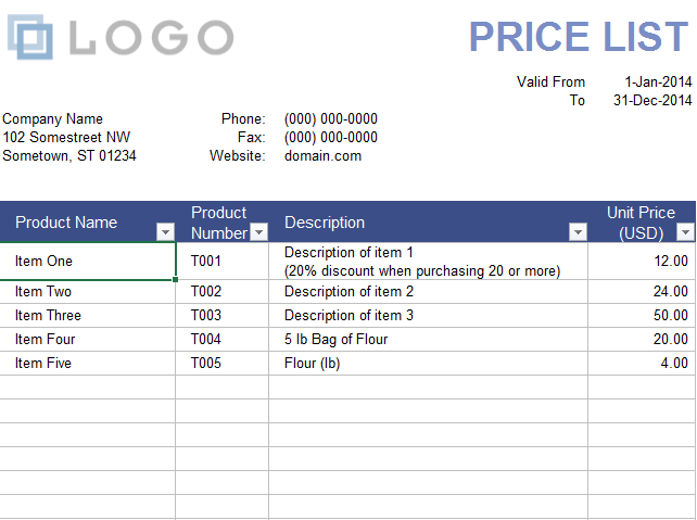 Wholesale Price List Template 05