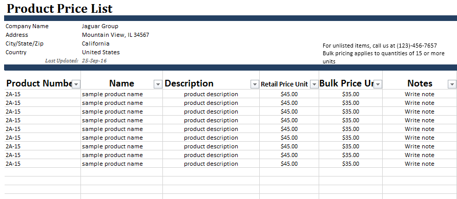 Wholesale Price List Template 10