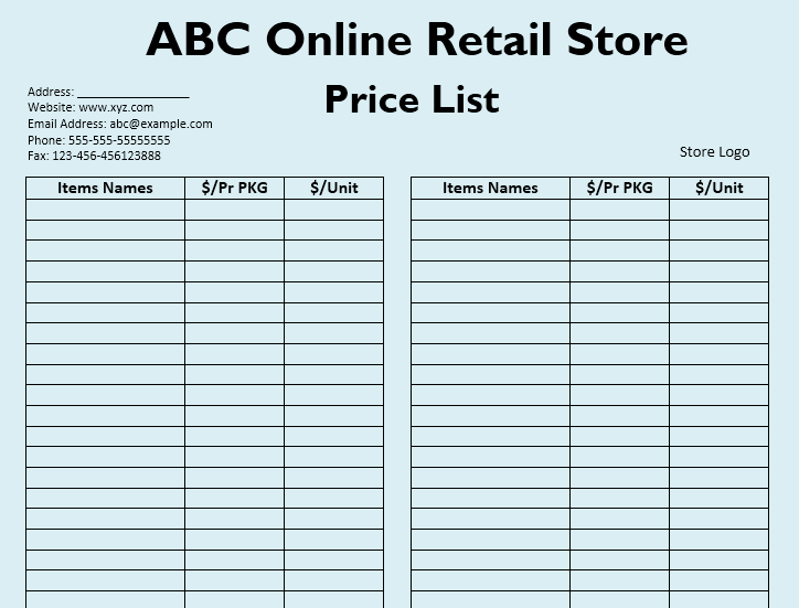 Wholesale Price List Template 11