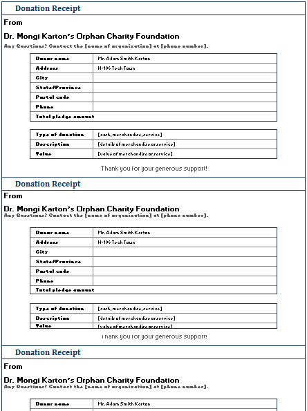 donation receipt template 06