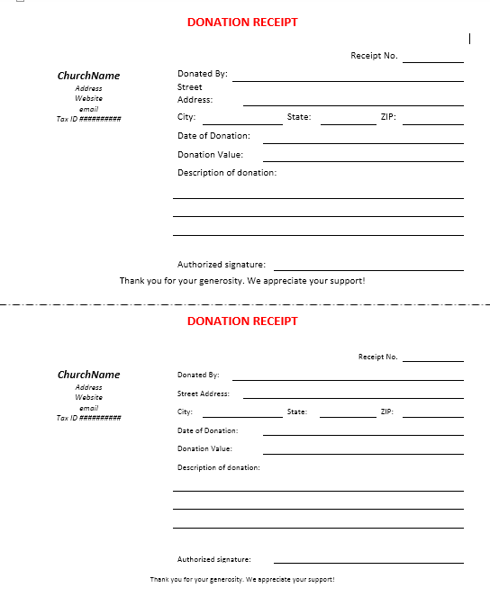 donation receipt template 10