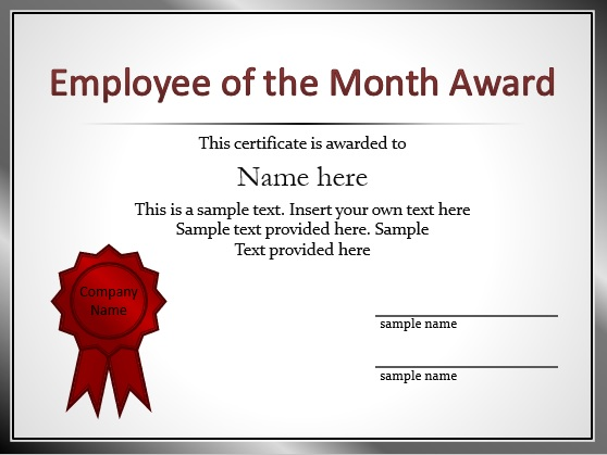 Employee of the Year Certificate Templates
