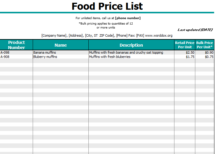product price list template 01