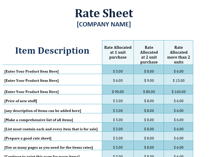 product price list template 02