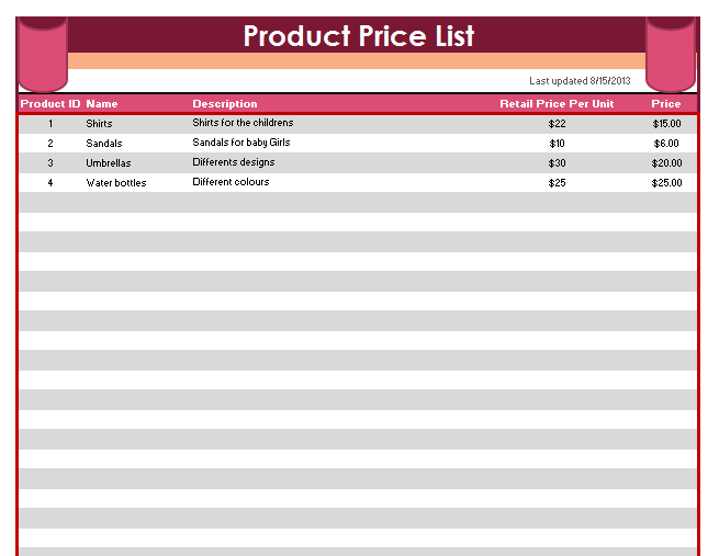 product price list template 03