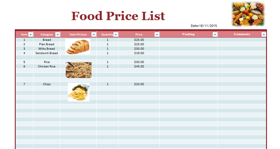 product price list template 04