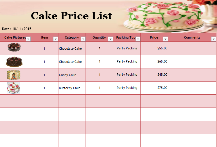product price list template 05