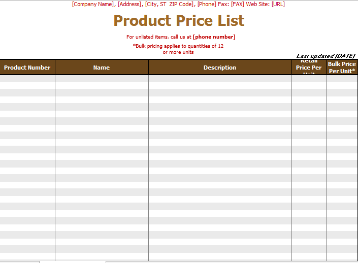 product price list template 10
