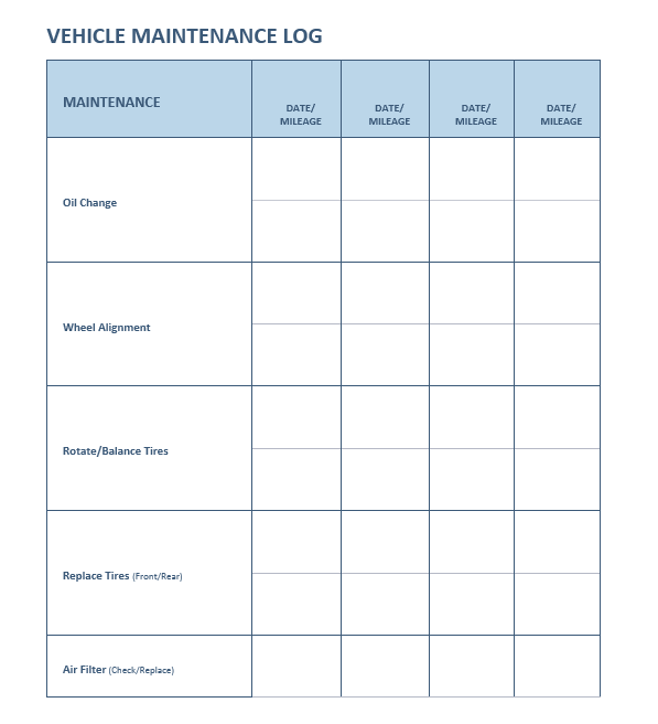 Maintenance Log Templates 20 Free Templates In Ms Word Excel