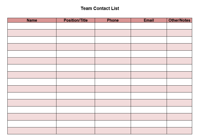 team contact list template 03