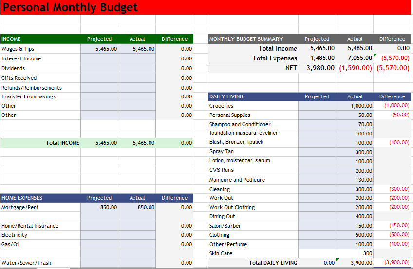 Personal Budget Template 05
