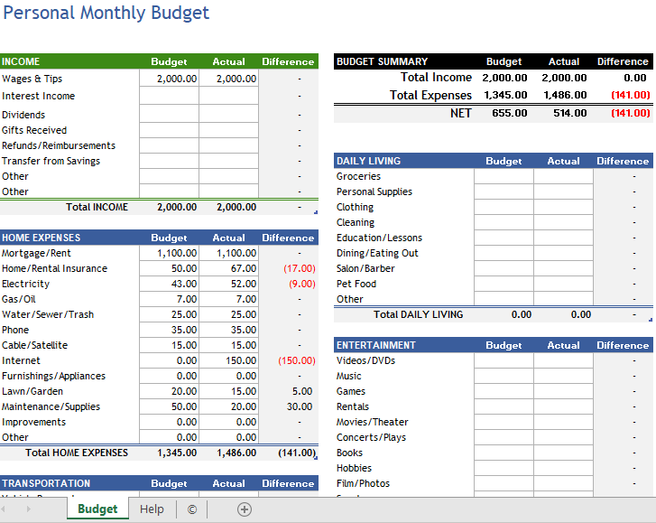 Personal Budget Template 09
