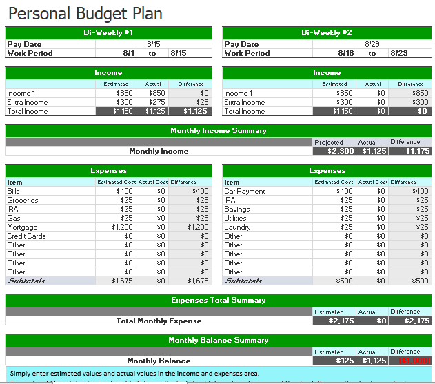 Personal Budget Template 10