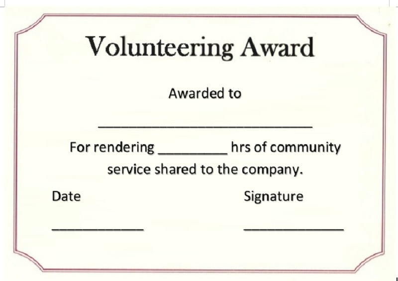 Volunteer Certificate Template 05