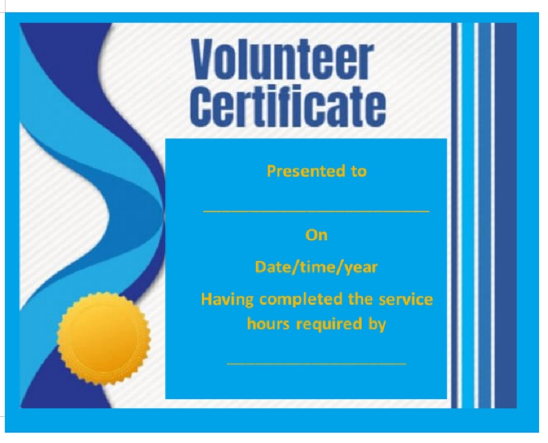Volunteer Certificate Template 12