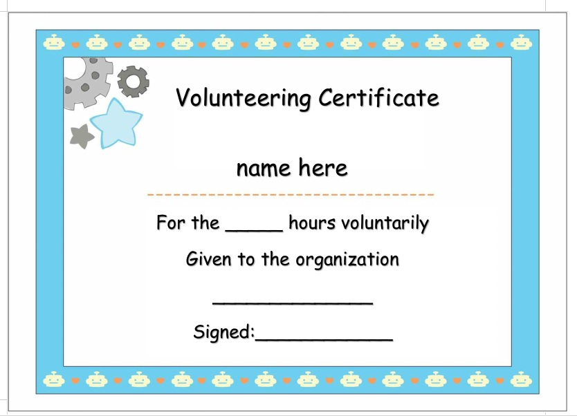 Volunteer Certificate Template 16