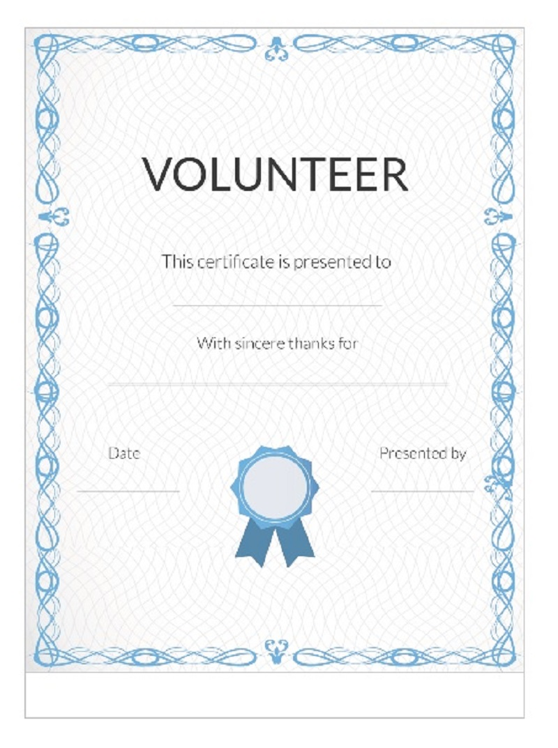 Volunteer Certificate Template 17