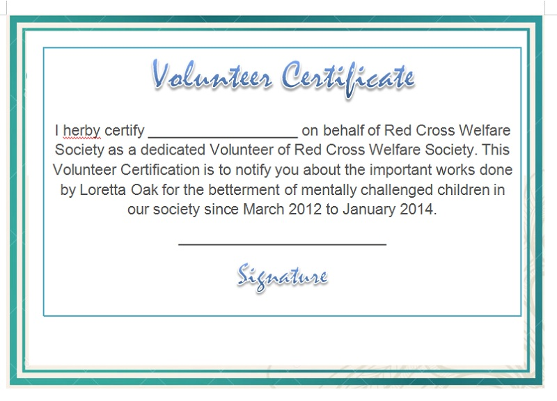 Volunteer Certificate Template 21