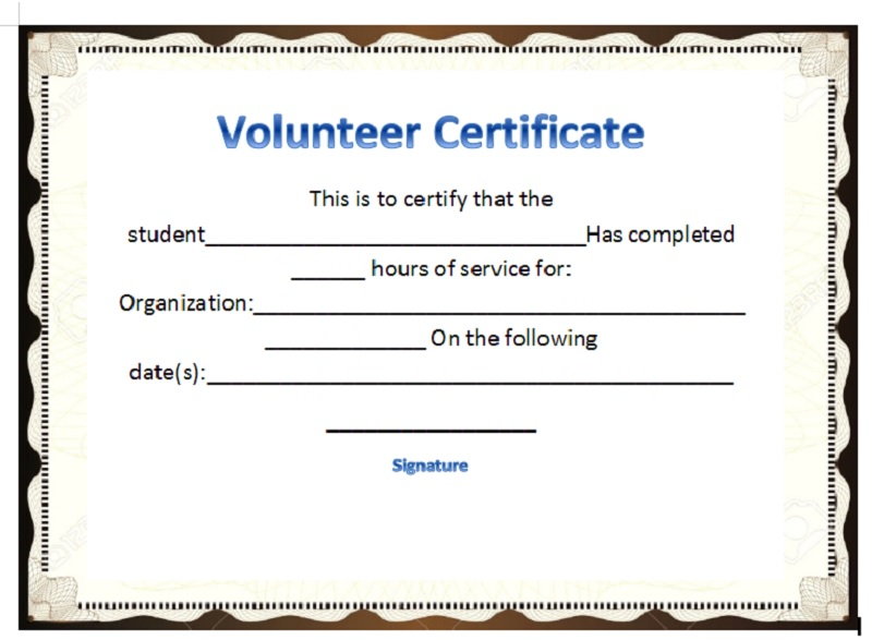 Volunteer Certificate Template 24