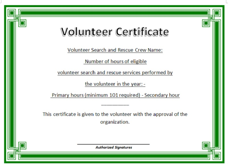 Volunteer Certificate Template 25