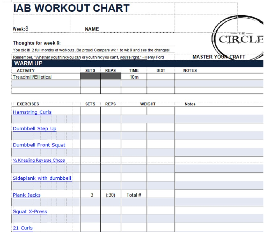 Weight Tracking Sheet Template 04