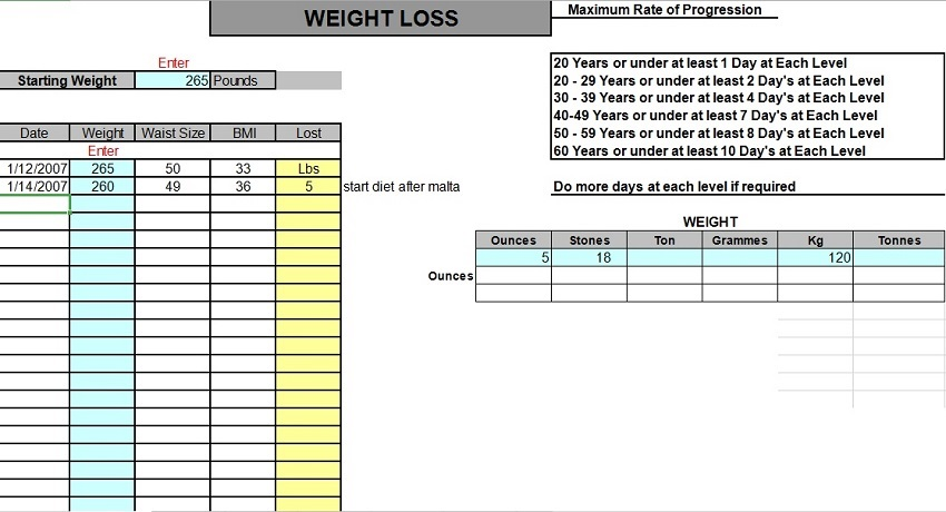 Weight Tracking Sheet Template 21