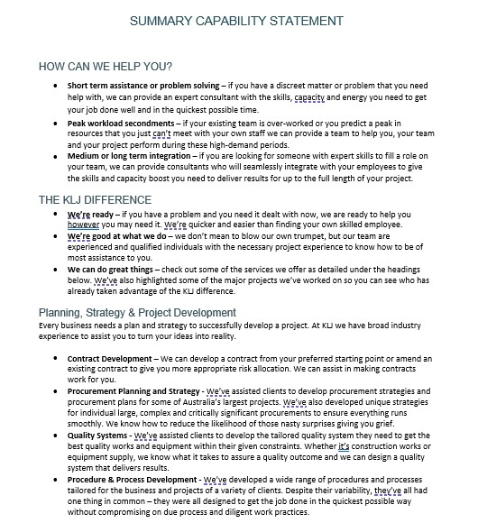 Capability Statement Template 08