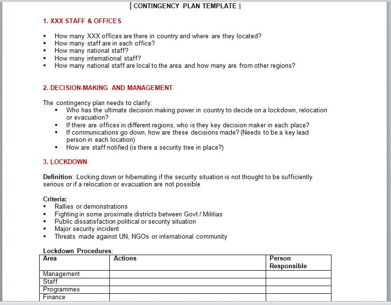 Contingency Plan Templates