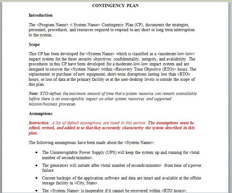 Contingency Plan Template 02