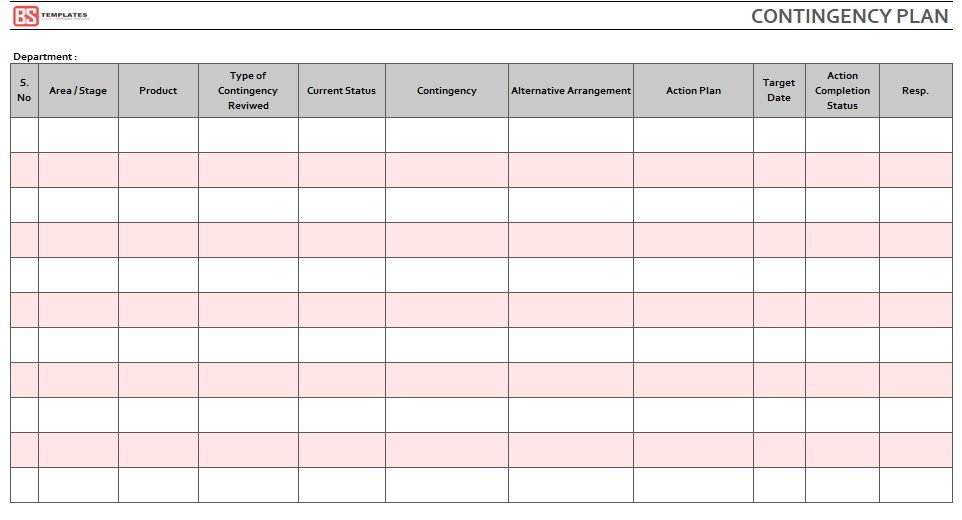 Contingency Plan Template 03