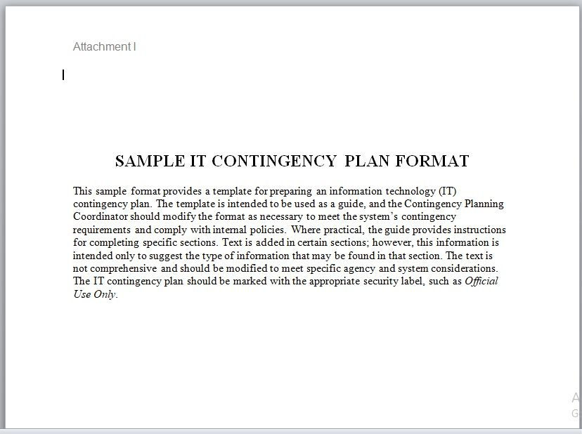 Contingency Plan Template 21