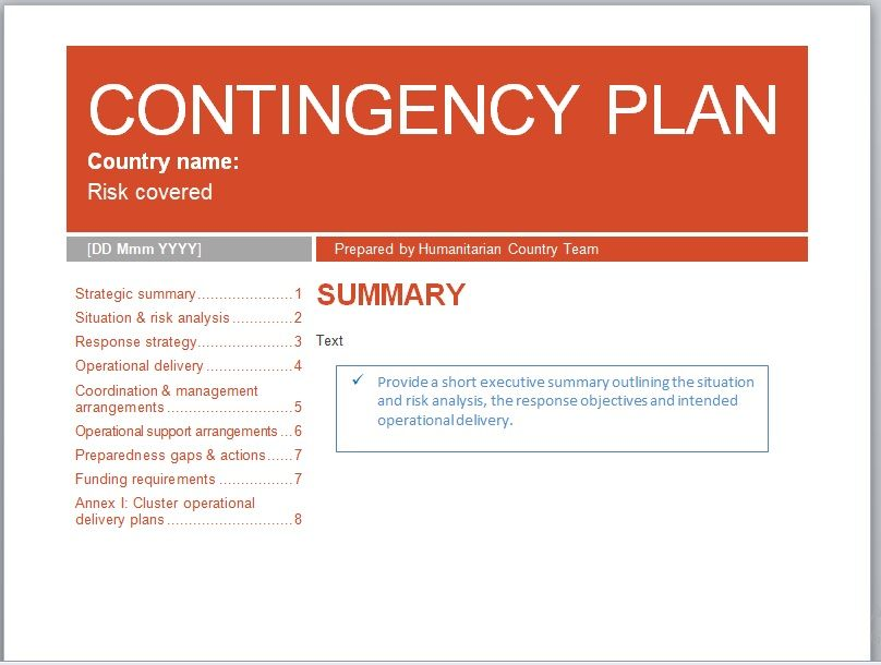 Contingency Plan Template 22