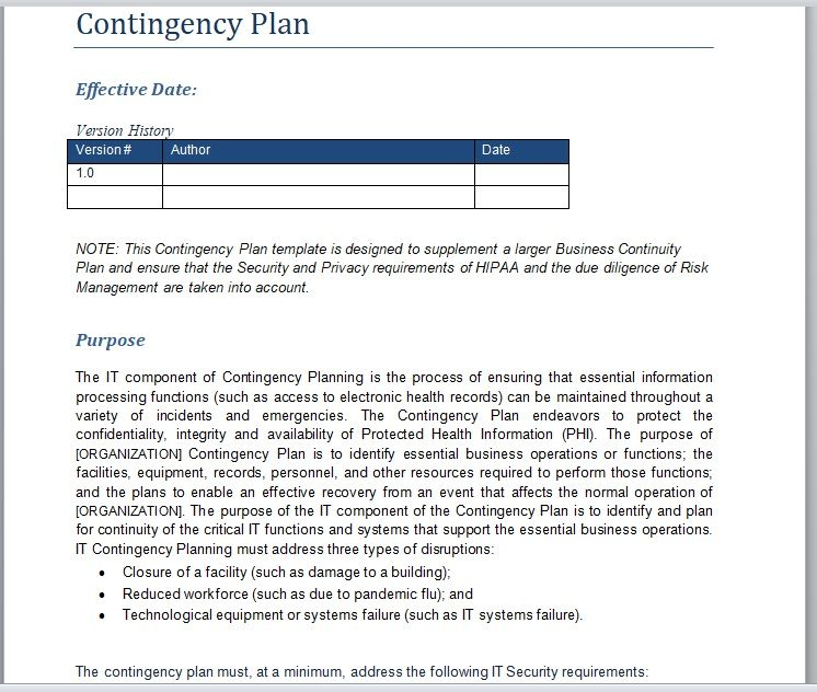 Contingency Plan Template 23