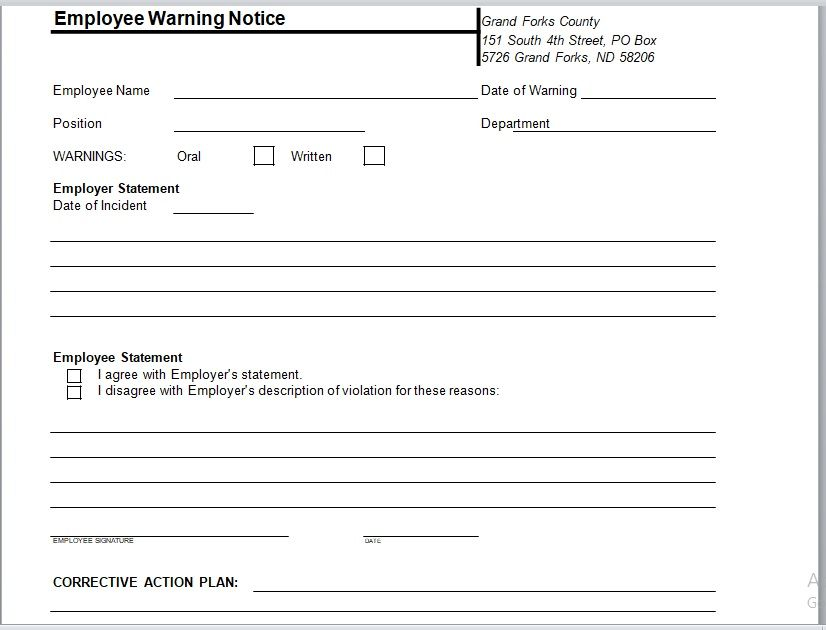 Employee Warning Notice Template 01