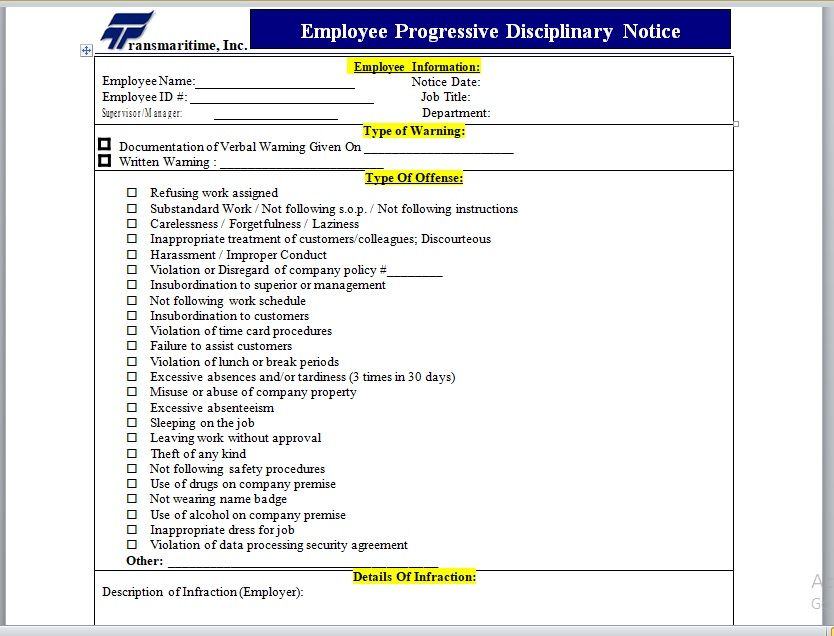Employee Warning Notice Template 03