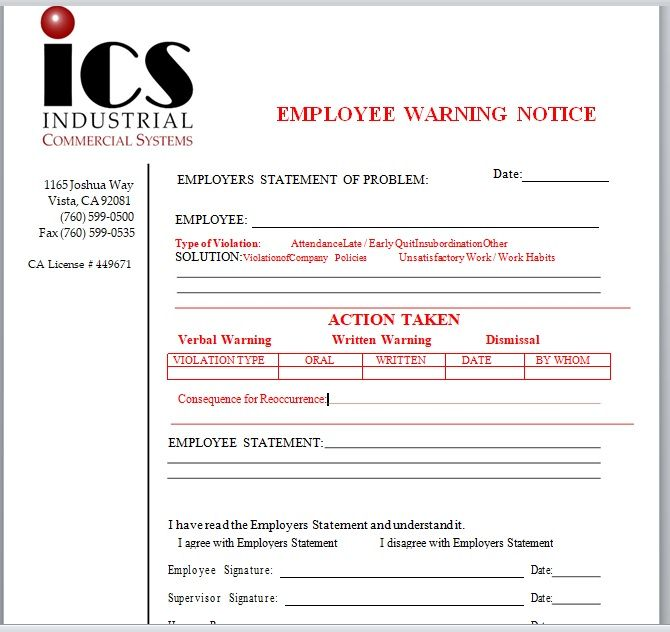 Employee Warning Notice Template 05