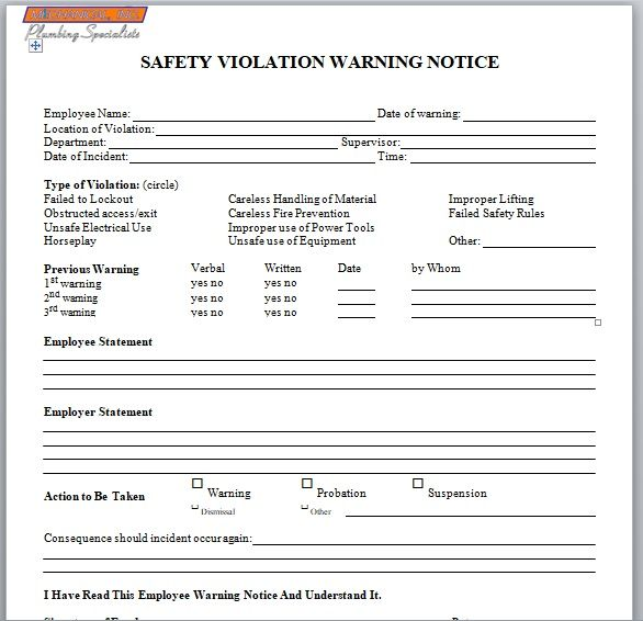 Employee Warning Notice Template 12