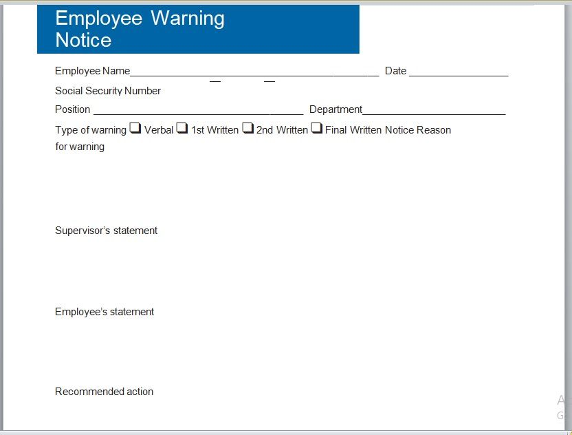 Employee Warning Notice Template 16
