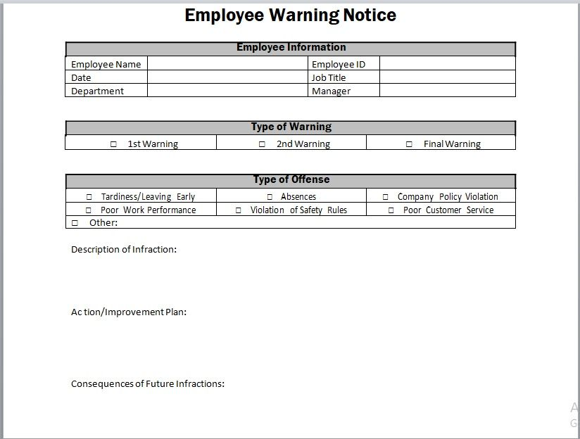 Employee Warning Notice Template 22