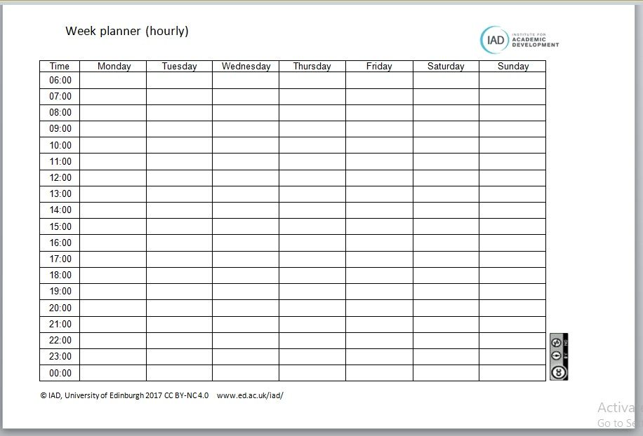 Hourly Schedule Planning Template 07