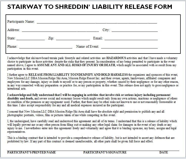 Release Of Liability Form Template 04