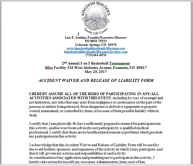 Release Of Liability Form Template 08