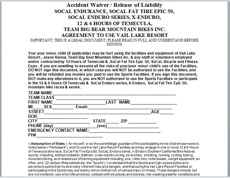 Release Of Liability Form Template 09
