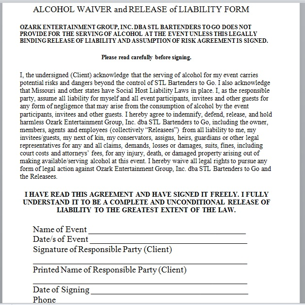 Release Of Liability Form Template 11