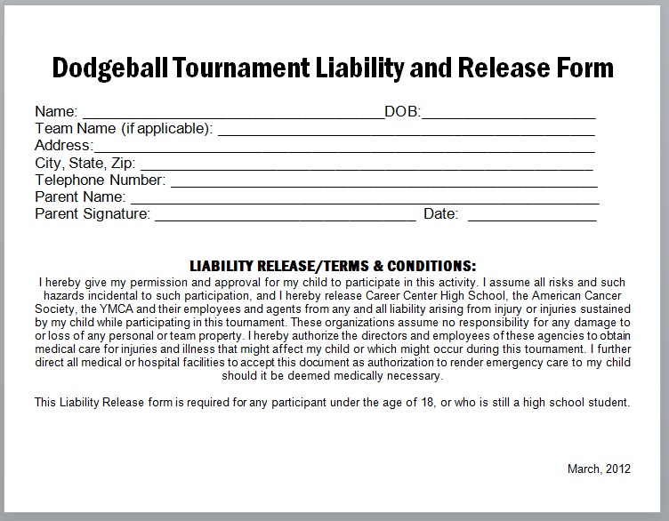 Release Of Liability Form Template 15