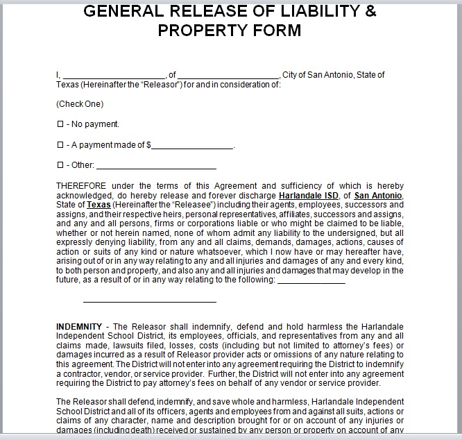 Release Of Liability Form Template 22